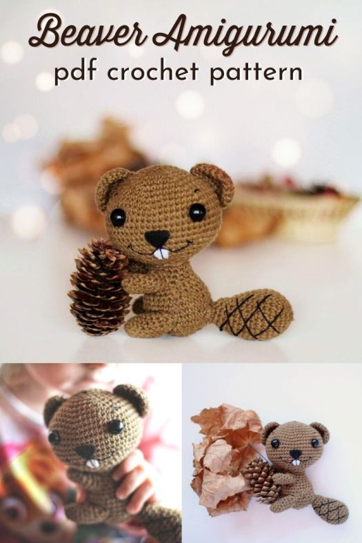 Adorable little beaver amigurumi crochet pattern! Love this little crocheted toy that is perfect to celebrate Canada Day! What a fun little handmade stuffed animal! #crochetpattern #amigurumipattern #beaverpattern #CanadaDay #craftevangelist