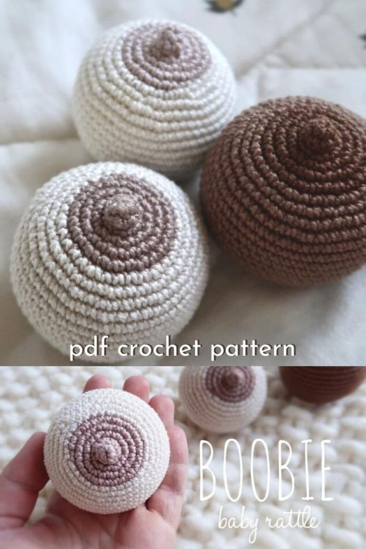 Funny little crochet pattern for a boobie baby rattle. Hilarious handmade baby shower gift! #crochetpattern #crochetbabyrattle #babycrochet #amigurumi #craftevangelist