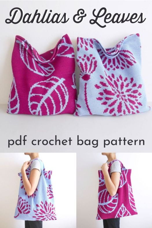 Lovely tapestry crochet handbags. I love the designs on these handbags. I think the pattern could be easily adjustable to a throw pillow as well! #crochetpattern #crochetbag #tapestrycrochet #craftevangelist