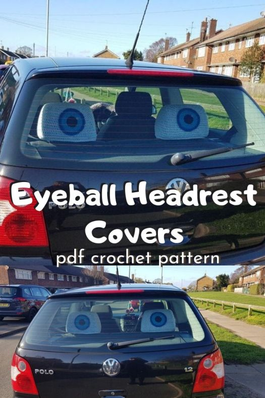Funny little crochet pattern for car headrest covers... giant eyeballs! So funny! #funnycrochetpatterns #crochetpattern #crochetheadrestcovers #diygaggifts #craftevangelist