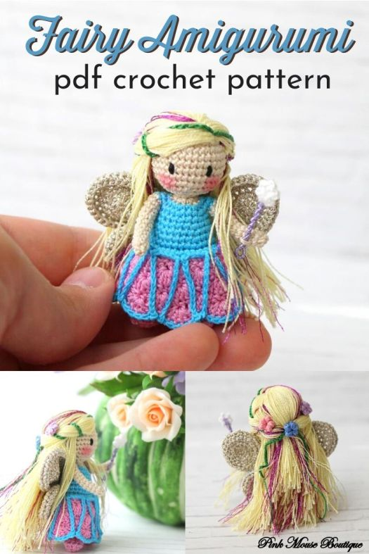 Hello beautiful fairy! Crochet this gorgeous tiny amigurumi fairy doll! She's so small and lovely! I love all the delicate details on this crocheted doll pattern! #crochetpattern #amigurumipattern #tinycrochet #craftevangelist