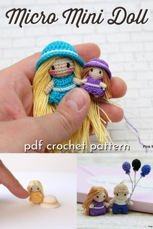 Oh my goodness! This little dolly is sooo tiny! Wow! What a fantastic micro crochet pattern! I love her hair and sweet little rosy cheeks! #crochetpattern #microcrochet #amigurumipattern #microamigurumi #craftevangelist