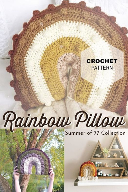 Sweet and easy crocheted bobble rainbow pillow crochet pattern. I love this fun and funky vibe. Made in these vintage colours, it has such a cool boho feel. #crochetpattern #crochetthrowpillo #crochetpillow #diydecor #craftevangelist