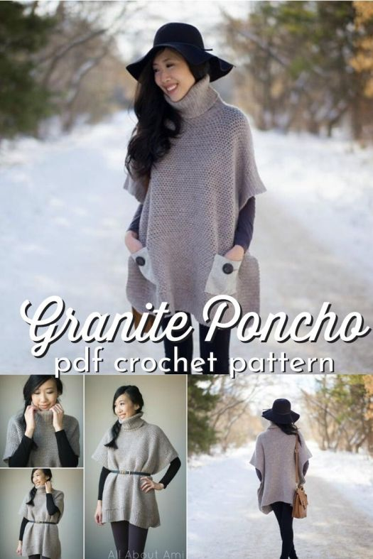 Gorgeous and simple beginner friendly crochet poncho pattern. Love this turtle neck poncho with pockets! Lovely pattern! Perfect for fall! #crochetpattern #crochetponcho #ponchopattern #craftevangelist