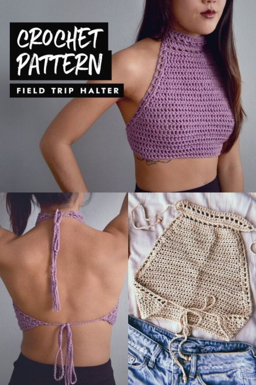 Gorgeous and simple crochet pattern for this beautiful halter top! Love this sexy cropped crocheted halter top, fully adjustable strap ties, customizable to your size! #crochetpattern #crochethalter #crochetcroptop #summercrochet #craftevangelist