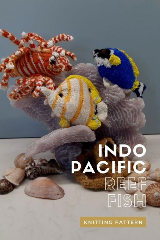 Knitting patterns for 3 indo pacific reef fish! Super cool knitting patterns to accompany Nemo in his aquarium. Make your own aquarium fish with a bonus coral! #knittingpattern #knittedfish #fishknittingpattern #aquariumknittingpattern #craftevangelist