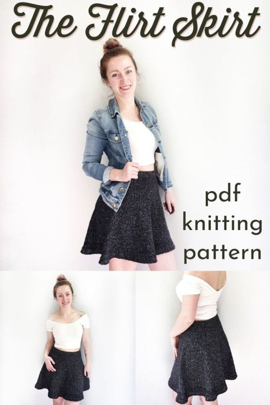 Sweet and flirty skirt knitting pattern. Knit your own high-waisted A-line flirty skirt this summer with this beginner-level, size-inclusive knitting pattern. #knittingpattern #knitskirtpattern #sizeinclusive #summerknits #craftevangelist