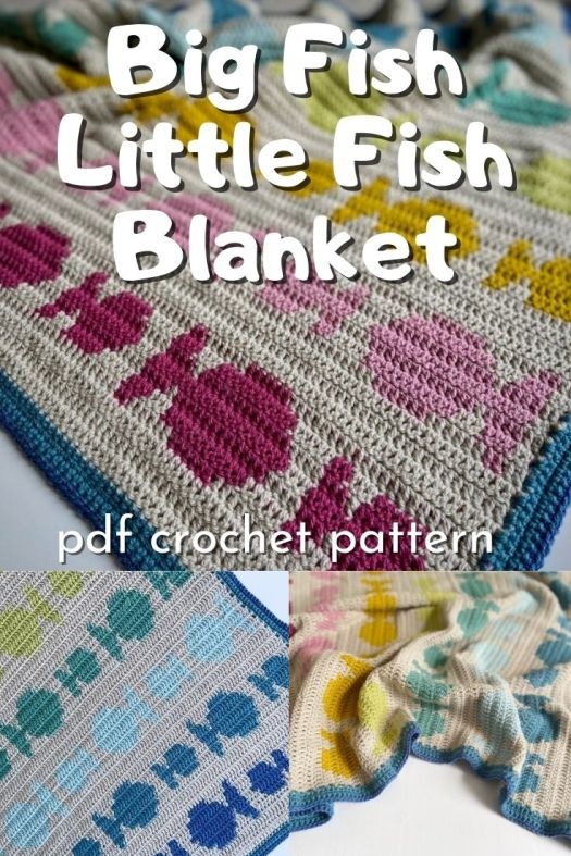 Adorable rainbow big fish little fish tapestry crochet blanket pattern. Lovely gender neutral baby blanket crochet pattern makes an excellent handmade baby shower gift idea! #crochetpattern #crochetblanket #crochetblanketpattern #crochetbabyblanket #crafts #afghan #yarn #crochetafghan #craftevangelist