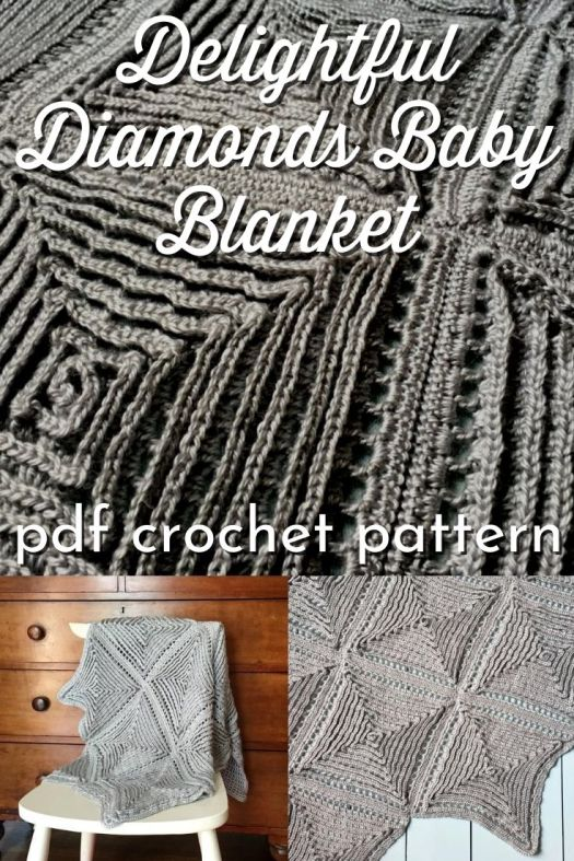 Check out the texture on this Delightful Diamonds Baby Blanket! What a fantastic and cuddly blanket for a Christening or a baptism blanket! I think it would even make a lovely throw blanket for your couch! So sweet! #babyblanketpattern #crochetpattern #crochetblanket #delightfuldiamondsblanket #crafts #yarn #craftevangelist
