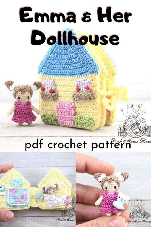 Sweet miniature doll crochet pattern with an adorable little quiet book style dollhouse. Great little gift to keep a little one busy! Perfect for travelling! Love little projects like these! #crochetpattern #amigurumipattern #miniamigurumi #tinydolls #crafts #yarn #craftevangelist
