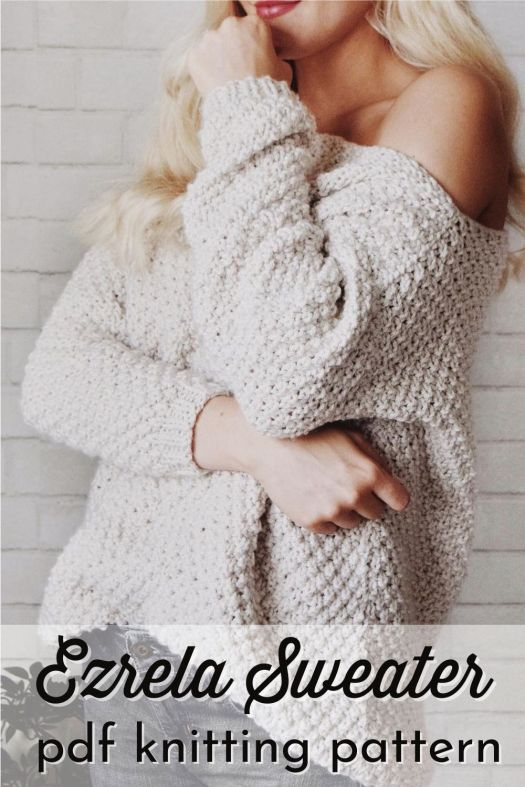 The Ezrela Sweater is a lovely textured chunky knit off-the-shoulder sweater perfect for fall. Cozy and sexy, it makes the perfect fall garment to knit! #knittingpattern #knitsweaterpattern #knitjumper #offtheshouldersweater #knitting #yarn #crafts #craftevangelist