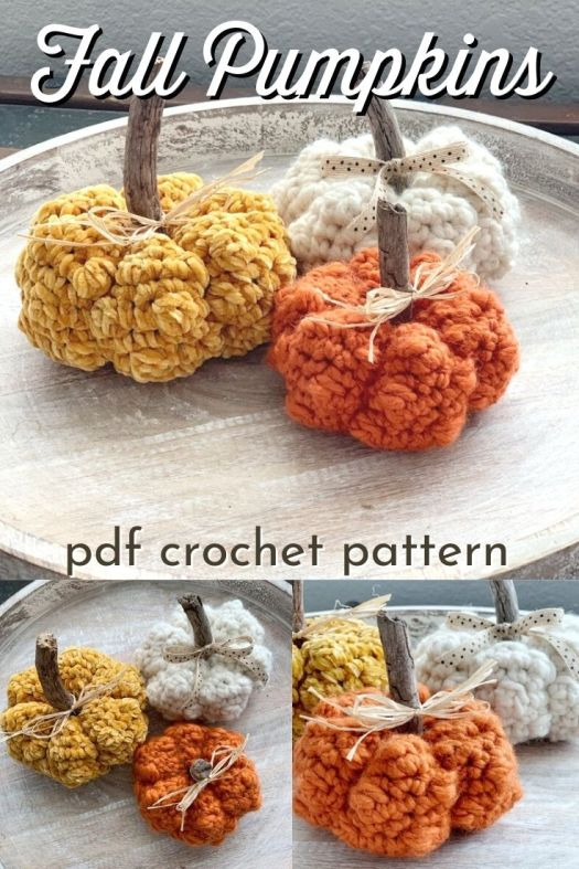 Adorable chunky and textured crochet pumpkin pattern. This cute little pattern uses up your scrap yarn and makes sweet little fall decor pumpkins! Makes a perfect handmade gift! #crochetpattern #crochetpumpkins #pumpkinpattern #crochet #falldecor #handmadedecor #diydecor #diypumpkins #amigurumi #yarn #crafts #craftevangelist