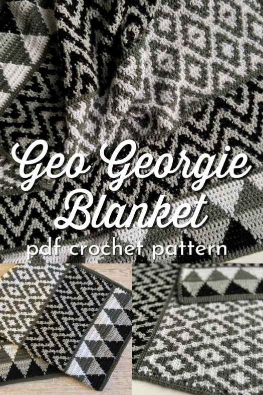 Check out all the fun designs on this Geo Georgie Blanket crochet pattern! I love this tapestry crochet afghan pattern, perfect introduction to tapestry crochet with plenty of photos and instructions. Make it with any size yarn you like! #crochetpattern #crochetblanketpattern #crochetafghan #tapestrycrochet #geometric #crafts #yarn #craftevangelist