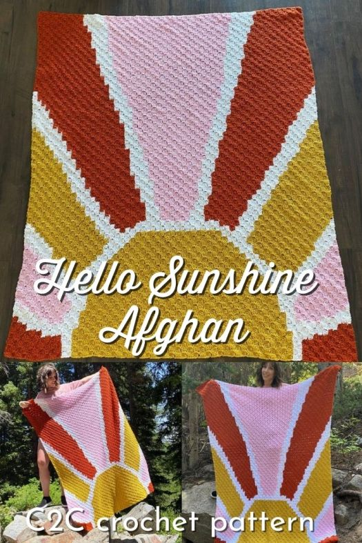 What a fun boho vintage vibe to this gorgeous and modern Hello Sunshine Afghan crochet pattern What a fun corner to corner afghan pattern! Can't wait to make one of these! Such a fun summer vibe. #crochetpattern #crochetafghanpattern #afghanpattern #crochetblanket #crochetblanketpattern #C2C #C2Ccrochet #cornertocorner #crafts #yarn #craftevangelist