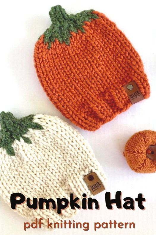 Fun bulky yarn knitting pattern for your little pumpkin. This hat makes the perfect newborn photo accessory and keeps little heads warm! Great market make! #knittingpattern #knithatpattern #yarn #crafts #pumpkinhat #knitpumpkin #craftevangelist