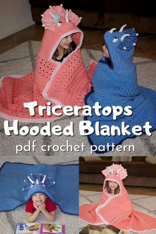 What a fun hooded blanket to make for a dinosaur-loving kid! This triceratops hooded blanket crochet pattern is so fun! My nephew would love one of these! #crochetpattern #crochethoodedblanketpattern #hoodedblanketpattern #hoodedblanket #crafts #blanketpattern #crochetblanket #yarn #craftevangelist