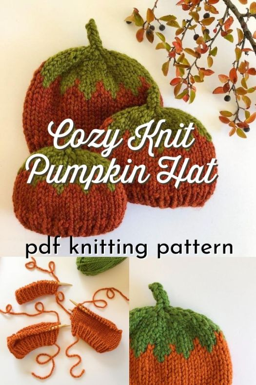 Love this adorable chunky knit pumpkin hat, with fair isle details at the crown Such a festive pattern in 4 different flexible sizes so you can make one for the whole family! #knittingpattern #pumpkinhat #knitpumpkinhat #knithatpattern #hatpattern #fallhatpattern #knitting #yarn #crafts #pattern #NativeStitch #craftevangelist