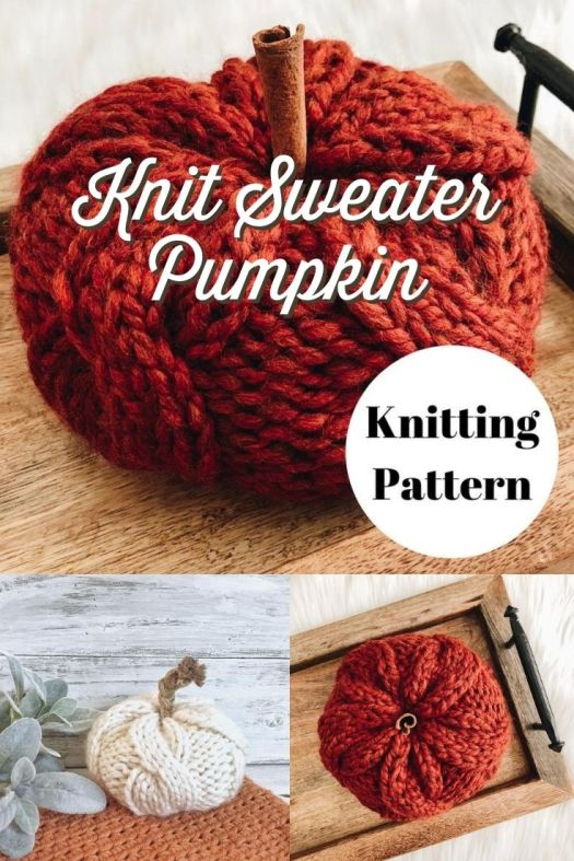 Absolutely cozy cable-knit pumpkin knitting pattern, like the pumpkin is wearing a sweater! How fun is this?! Love it!!! #knittingpattern #pumpkinpattern #knitpumpkin #diypumpkin #amigurumipumpkin #amigurumipattern #falldecor #knitfalldecor #yarn #crafts #kneedlesandlove #craftevangelist