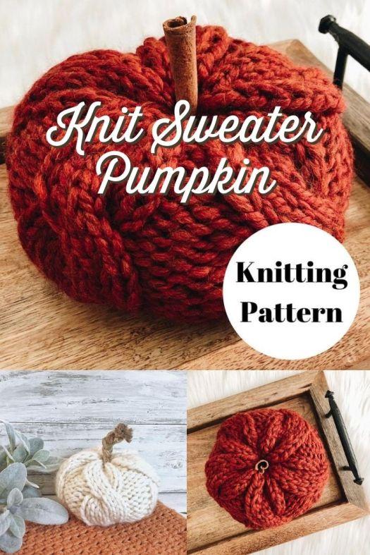 Absolutely cozy cable-knit pumpkin knitting pattern, like the pumpkin is wearing a sweater! How fun is this?! Love it!!! #knittingpattern #pumpkinpattern #knitpumpkin #diypumpkin #amigurumipumpkin #amigurumipattern #falldecor #knitfalldecor #yarn #crafts #kneedlesandlove #craftevangelist
