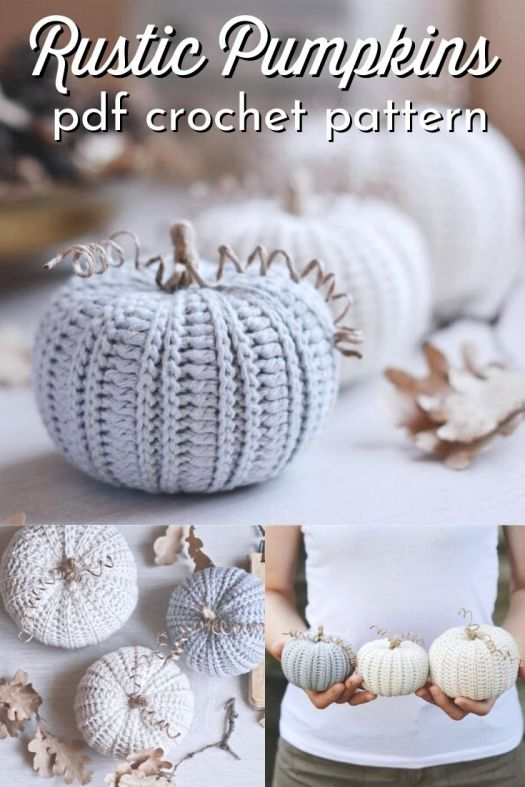 Three patterns in one with this rustic pumpkins crochet pattern! I love these pumpkins made in these neutral colours, a perfect way to incorporate pumpkins into your decor without orange! #crochetpattern #crochetpumpkin #amigurumipumpkin #pumpkindecor #falldecor #diyfalldecor #diypumpkins #yarn #crafts #fireflycrochets #craftevangelist