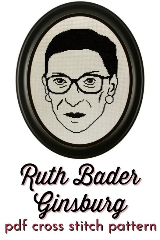 Ruth Bader Ginsburg face cross stitch pattern. Great simple cross stitch pattern in one color. This would make a great law school grad gift! #NotoriousRBG #RuthBaderGinsburg #crossstitch #feministcrafts #RBG #lawschoolgiftideas #StitchLifeMag #CraftEvangelist