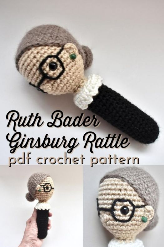 Crochet pattern for this Ruth Bader Ginsburg Rattle. What a fun baby gift for a lawyer parent or RBG fan parent to be! Love this fun feminist baby rattle. #NotoriousRBG #RuthBaderGinsburg #crochetpattern #amigurumipattern #RBGrattle #RBGcrochetpattern #babyrattle #yarn #crafts #feministcrafts #BBadorables #CraftEvangelist