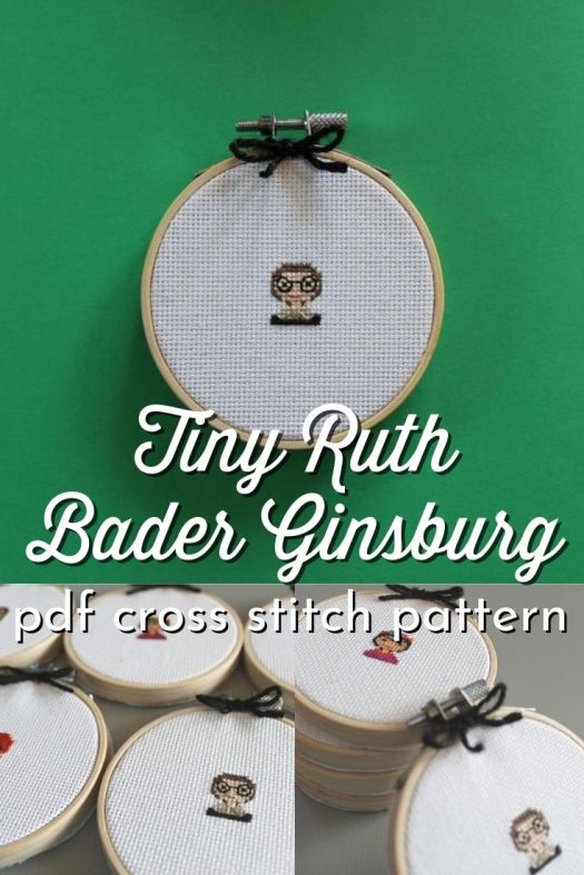 Tiny Ruth Bader Ginsburg Cross Stitch pattern. Check out this cute embroidery pattern of the Notorious RBG. Great little handmade gift idea. #NotoriousRBG #RuthBaderGinsburg #crossstitch #crossstitchpattern #feministcrafts #ZestyThistle #CraftEvangelist
