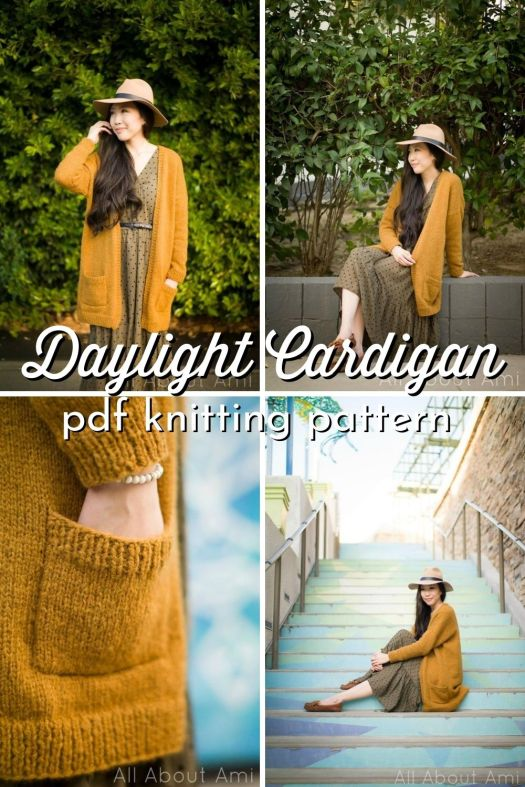 Gorgeous and simple Daylight Cardigan knitting pattern made with Lionbrand Chainette yarn. Love this gorgeous soft cardigan. Beginner friendly knitting pattern is a perfect first knit garment project #knittingpattern #knitcardigan #knitcardiganpattern #cardiganpattern #knitting #AllAboutAmi #CraftEvangelist