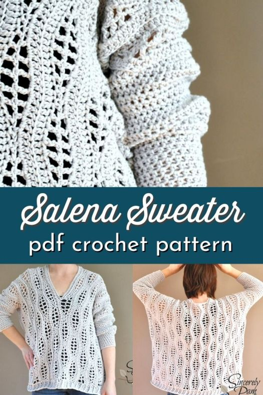 Super sweet leaf-like lacy crochet sweater pattern. This is such a lovely and cozy crocheted sweater to make! Size inclusive up to size 3X. Gorgeous, roomy comfy sweater! #crochetpattern #crochetsweater #sweaterpattern #BySincerelyPam #CraftEvangelist