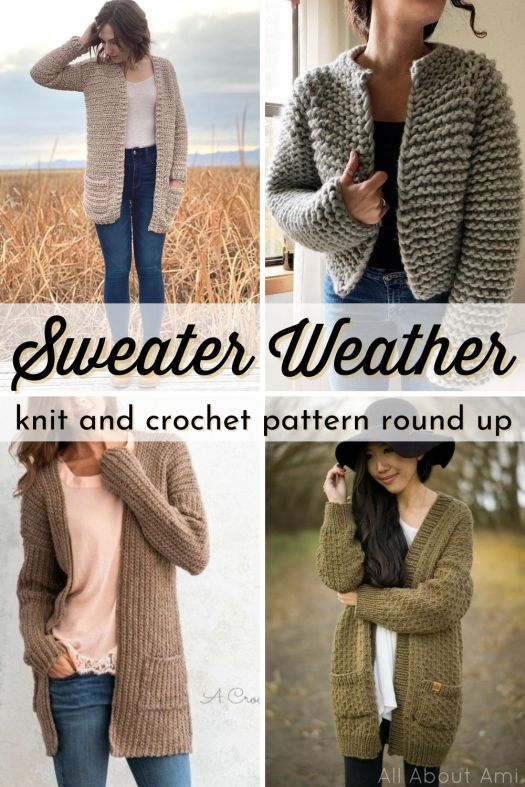 Thirteen great sweater knit and crochet patterns. Cardigans, pullovers, plenty of EASY BEGINNER LEVEL knit and crochet patterns to make this fall! Love this great round up! #knittingpattern #crochetpattern #sweaterpattern #knitsweater #crochetsweater #patternroundup #craftevangelist