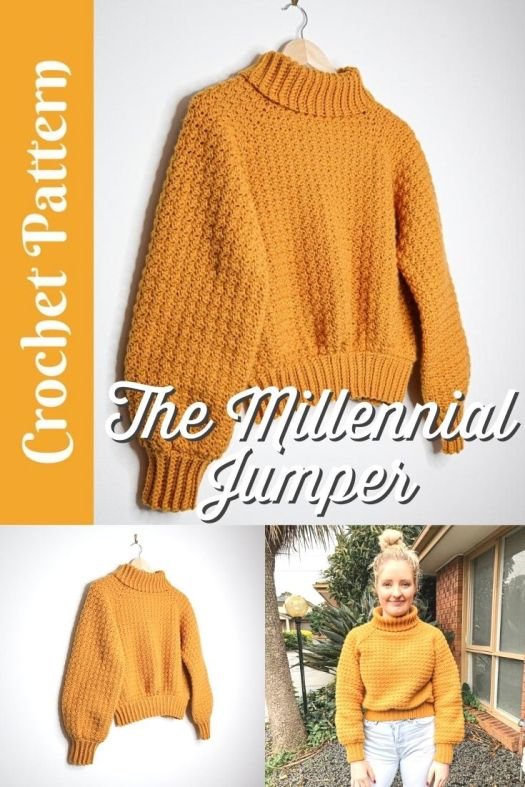 Super cute, but EASY beginner crochet sweater pattern. Lovely cropped crochet sweater with turtle neck. Perfect first garment pattern! #crochetpattern #crochetsweater #crochetjumper #sweaterpattern #yarn #crafts #millennialjumper #KatePolizzi #CraftEvangelist