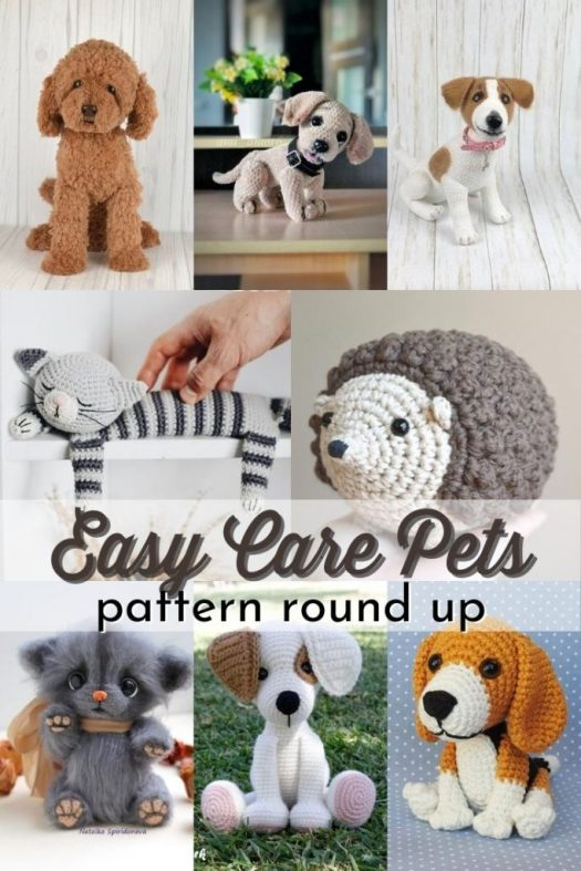 Pattern round up of adorable crocheted amigurumi pet patterns! Such a sweet handmade gift idea for a pet lover! So cute! And some of these are so realistic-looking! Can hardly wait to make that poodle! #amigurumipets #crochetpets #crocheteddog #crochetcat #amigurumicat #amigurumidog #patternroundup #amigurumipatterns #CraftEvangelist