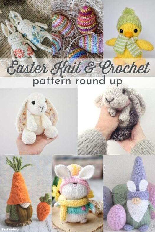 Cute collection of spring and easter knit and crochet patterns! Love these adorable amigurumi patterns, perfect handmade gifts for putting in Easter baskets!#knitting #crochet #knittingpatterns #crochetpatterns #knitamigurumi #crochetamigurumi #knitbunnies #crochetbunnies #eastercrochet #easterknitting #patternroundup #CraftEvangelist