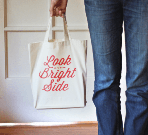 iron on typographic tote