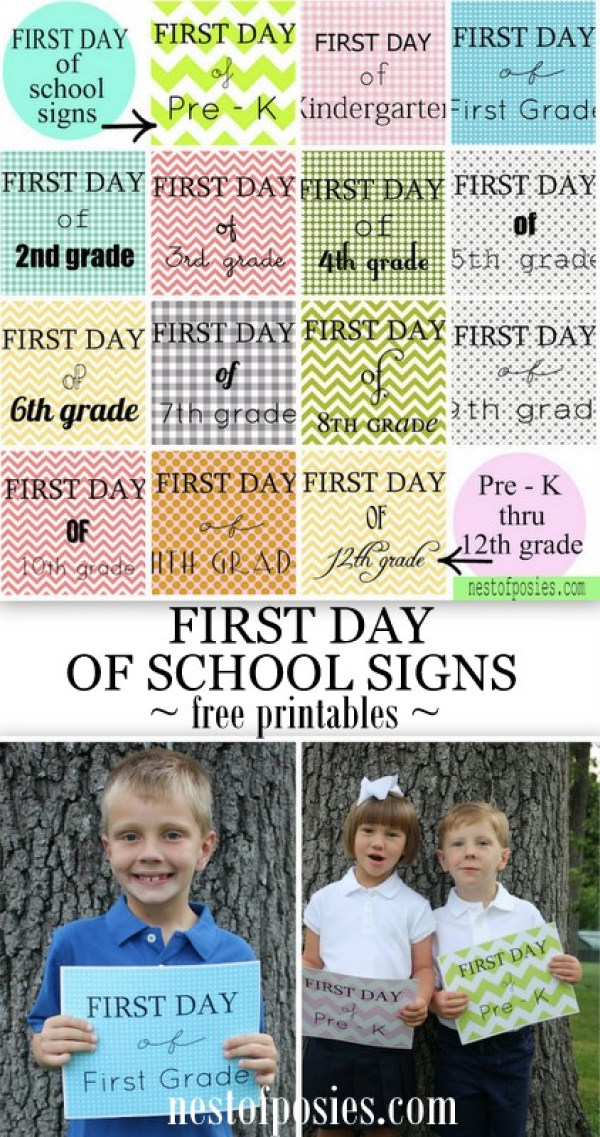 First Day of School Signs Free Printables Pre-K – 12th - Nest of Posies