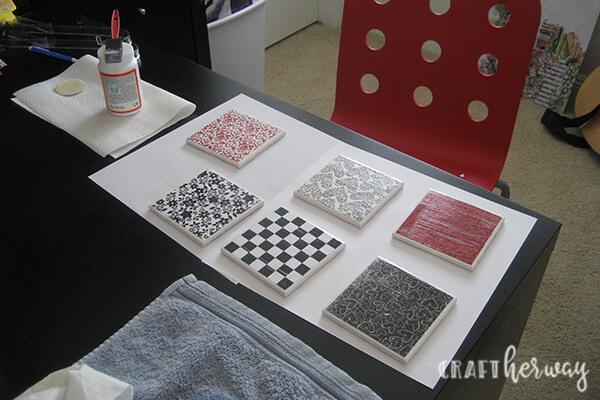diy ceramic tile coasters craft her way