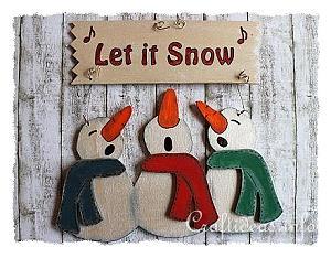 Wooden Singing Snowman Trio Door Sign Craft