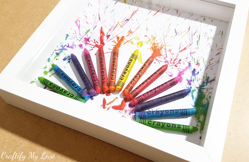 DIY Melted Crayons Fireworks In A Shadow Box