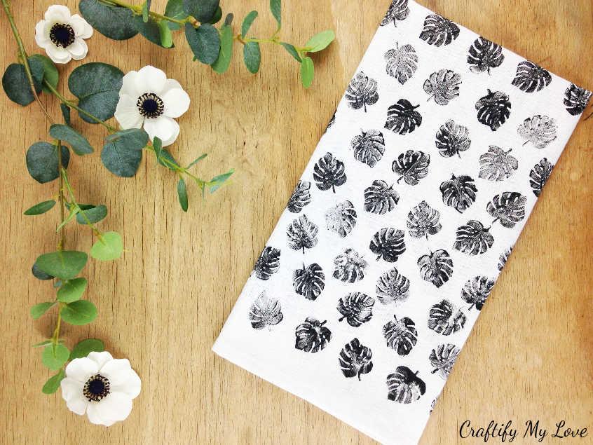 DIY Stamped Tea Towel