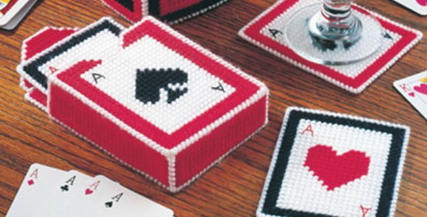 Playing cards coasters and box plastic canvas pattern.