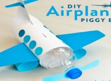 So simple to make yet amazing aeroplane piggy bank. Using a soft drink bottle and card stock.