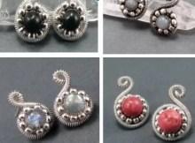 DIY jewellery beaded spiral post earrings