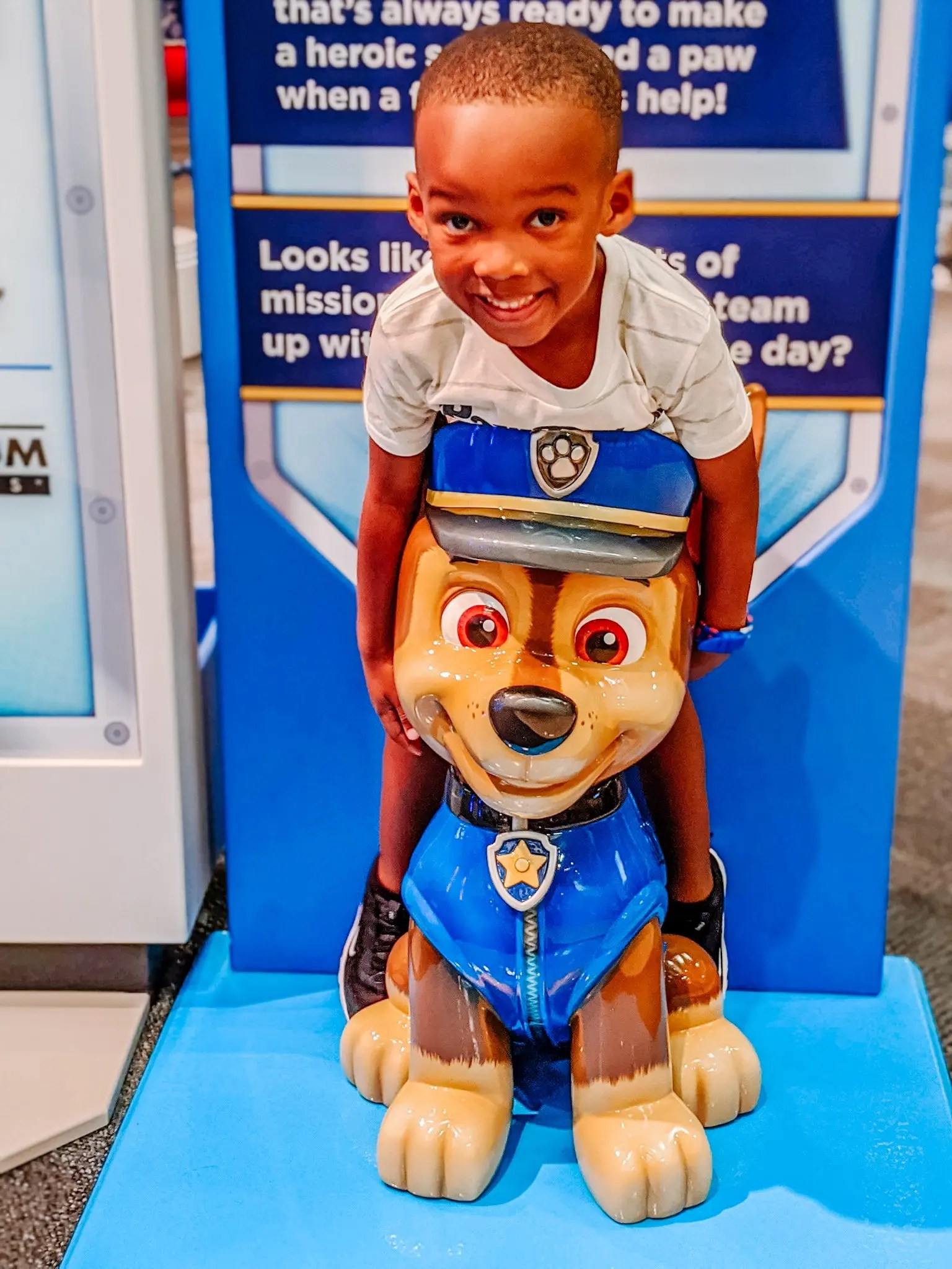 Preschooler with Chase of the Paw Patrol