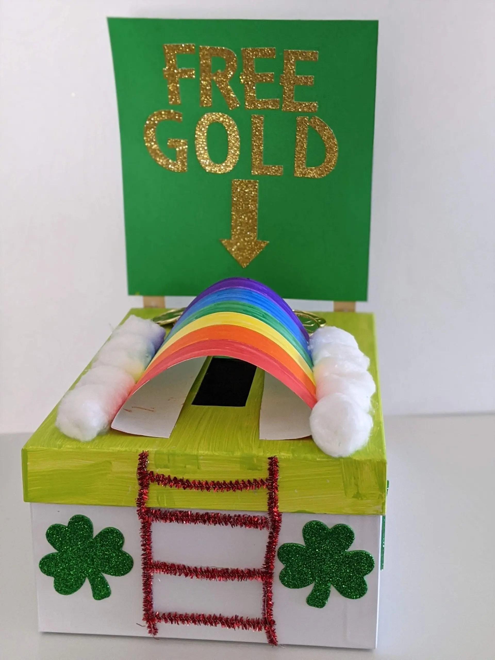 DIY leprechaun trap made out of shoe box
