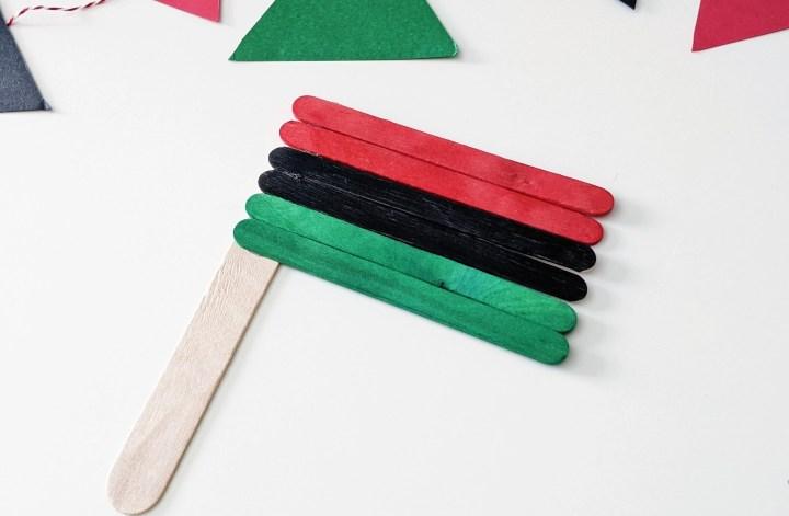 Juneteenth craft stick flag