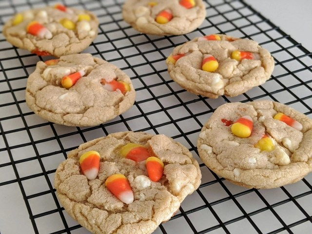 candy corn and white chocolate cookies for Halloween