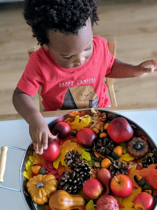 toddler playing with fall sensory tray