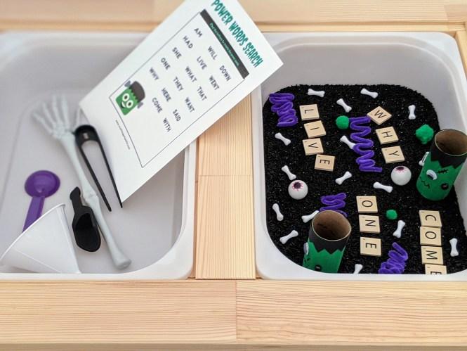how to make a cool Frankenstein sensory bin