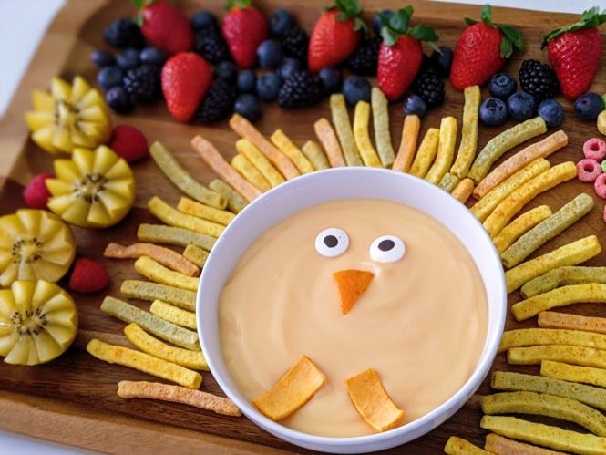 adorable turkey snack board for Thanksgiving