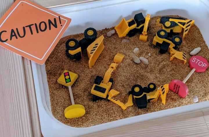construction zone sensory bin